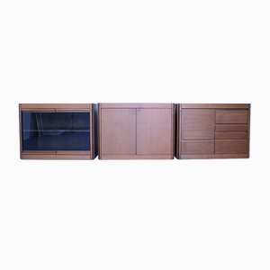 Mid-Century 4D Series Storage Sideboards by Angelo Mangiarotti for Molteni, Set of 3