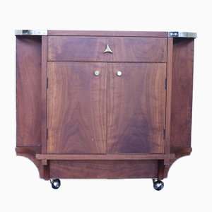 Mid-Century Wooden Container Trolley with Brass Details