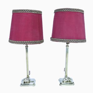 Small Mid-Century Brass Table Lamps, Set of 2