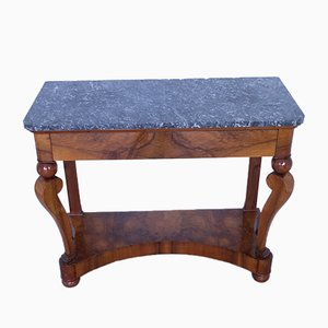 Antique French Empire Style Walnut Console Table with Marble Top
