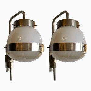 Italienische Verstellbare Mid-Century Delta Wandlampen von Mazza für Artemide, 1960er, 2er Set