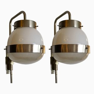 Mid-Century Italian Adjustable Delta Sconces by Mazza for Artemide, 1960s, Set of 2