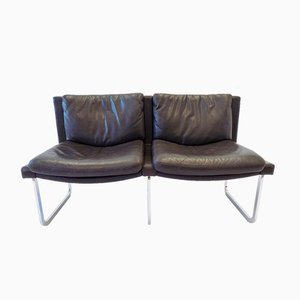 RH 201 Dark Brown Leather 2-Seater Sofa by Robert Haussmann for de Sede, 1960s