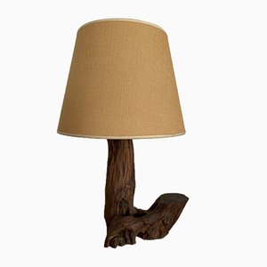 Brutalist Wood Table Lamp, 1950s