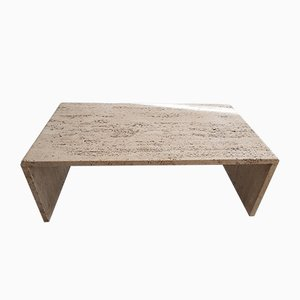 Vintage Rough Travertine Coffee Table in the Style of Up & Up
