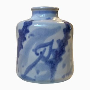 Danish Modern Blue Ceramic Vase by Eva Sjögren for L. Hjorth, 1950s