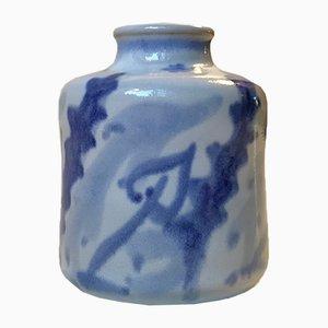 Vaso moderno in ceramica blu di Eva Sjögren per L. Hjorth, Danimarca, anni '50