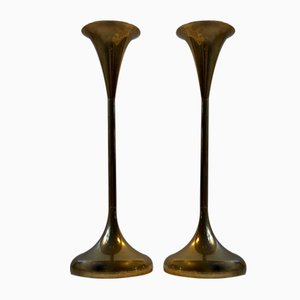 Mid-Century Danish Brass Candlesticks from Hyslop, 1960s, Set of 2