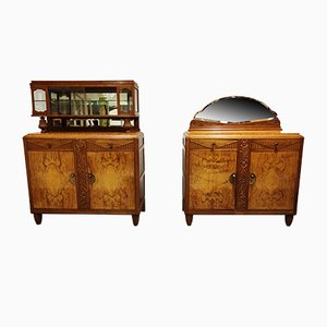 Amsterdam School Cabinets, 1930s, Set of 2