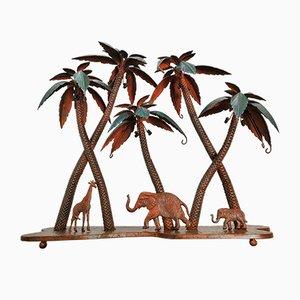 Scultura vintage di palme ed elefanti di giraffa