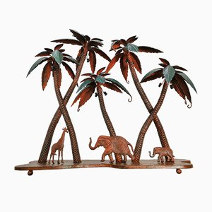 Vintage Sculpture of Giraffe Palms and Elephants