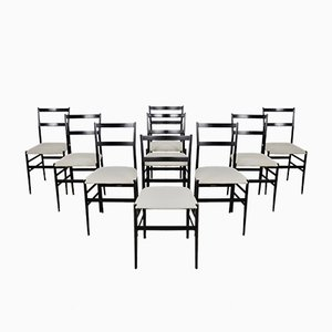 Mid-Century Superleggera Side Chairs by Gio Ponti for Cassina, Set of 9