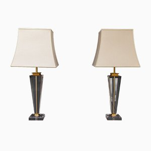 Regency Style Lucite Table Lamps, 1978, Set of 2