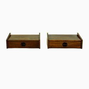 Danish Floating Rosewood Nightstands, 1950s, Set of 2