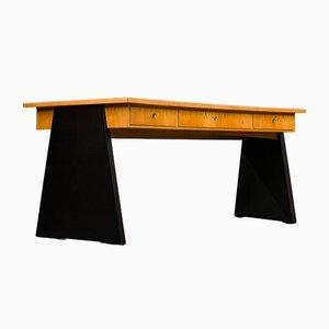 Großer futuristischer Chef Schreibtisch aus Eichenholz, 1960er