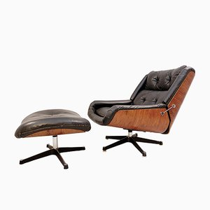 Black Leather Lounge Chair and Ottoman, 1970s, Set of 2