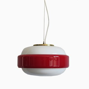 Italian Red & White Glass Ceiling Lamp from Stilnovo, 1950s