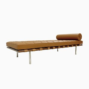 Barcelona Daybed in Cognac Leather by Mies Van Der Rohe for Knoll