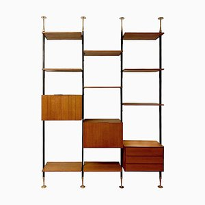 Teak & Brass Floor To Ceiling Italian Wall Unit, 1950s