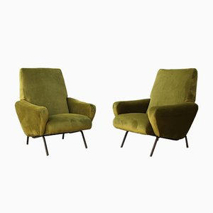 Mid-Century Italian Green Velvet Armchairs by Giuseppe Rossi di Albizzate, 1960s, Set of 2