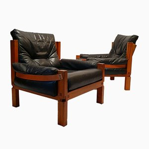 S15 Brutalist Orme & Leather Lounge Chairs by Pierre Chapo, 1960s, Set of 2