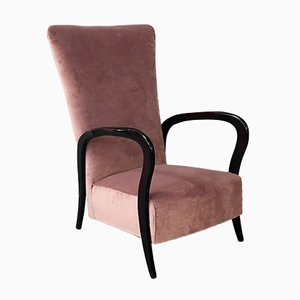 Pink Velvet and Wood Armchair With Curved Armrests, 1950s