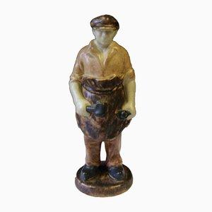 Mid-Century Keramikschwarze Figur von Michael Andersen & Son für Bornholm