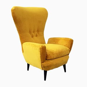 Mid-Century Italian Fire Yellow Bergère Velvet and Wooden Armchair, 1950s