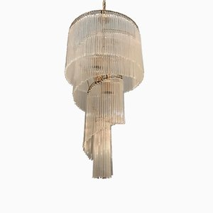 Murano Glass Rod Spiral Chandelier by Gaetano Sciolari, 1960s