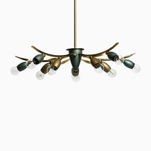 Mid-Century Modern Brass Cone 5-Arm Ceiling Lamp with 10 Sockets, 1950s