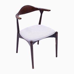 Skandinavischer Beistellstuhl aus gebeizter Esche, 1960er