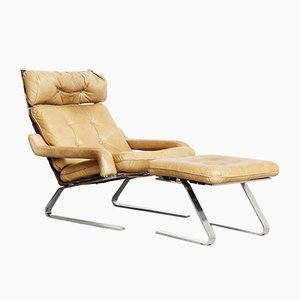 Lounge Chair & Ottoman by Olivier Mourgue for Airborne, 1960s, Set of 2