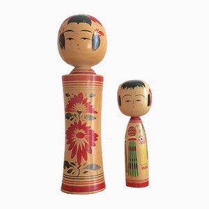 Mid-Century Handmade Japanese Kokeshi Dolls, Set of 2