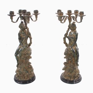 19th-Century French Zamac Candelabras, Set of 2