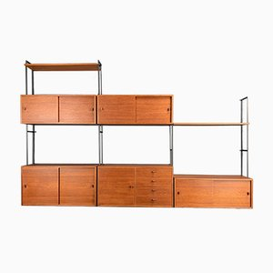 German Minimalist Teak Shelf with Leather Handles, 1960s, Set of 11