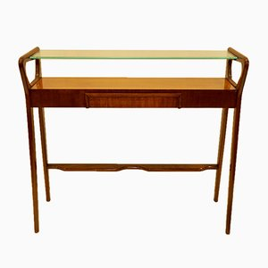 Walnut Console Table with Glass Shelf and Hidden Drawer, 1950s