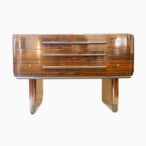 Italian Art Deco Zebrano and Ebony Macassar Wood Chest of Drawers, 1930s