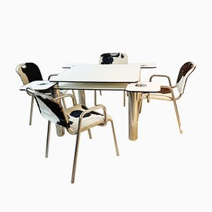 Poker Table & Chairs by Achille Castiglioni for Zanotta, 1960s, Set of 5