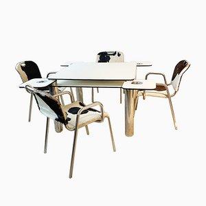 Pokertisch & Stühle von Achille Castiglioni für Zanotta, 1960er, 5er Set