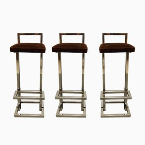 Chrome Stools from Belgo Chrom / Dewulf Selection, 1970s, Set of 3