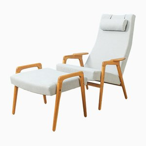 Lounge Chair with Ottoman by Yngve Ekström for Pastoe, 1960s, Set of 2