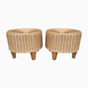 Italian Rattan Wicker and Wood Poufs, 1970s, Set of 2