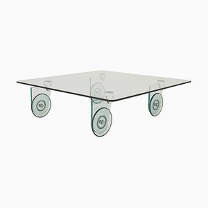 Glass Coffee table with Glass Wheels from Roche Bobois, 1980s