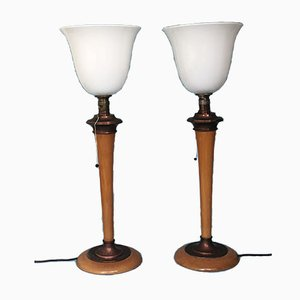 Art Deco Rosewood Table Lamps from Mazda, 1930s, Set of 2