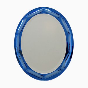 Blue Oval Mirror by Antonio Lupi for Luxor Cristal, 1960s