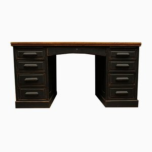 Large Vintage Black Painted Oak Desk, 1940s