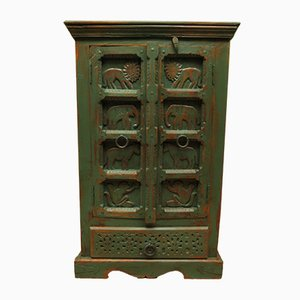 Indian Bohemian Green Painted Cabinet with Animal Carvings, 1990s