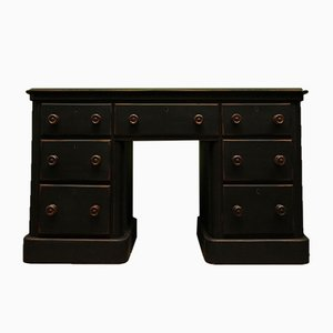 Antique Black Painted Writing Desk with Drawers