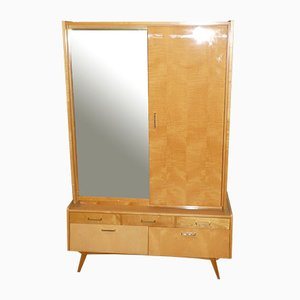 Mid-Century Linen Cabinet with Mirrored Door