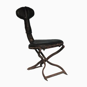 Antique Leather Folding Car Chair by Truffy